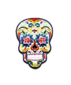 Skull-Sugar-Candy-Calavera-Mexican-Embroidered-Iron-On-Patch-W