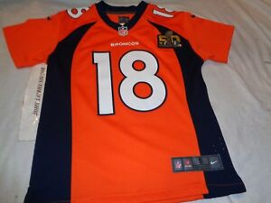 buy popular ae69f 85b57 Details about Denver Broncos Peyton Manning Super Bowl 50 Nike Onfield  Jersey Youth Small 8