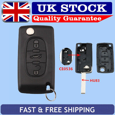 CE0536 Remote Key Case 3Button HU83 Blade Battery For Peugeot 207 307cc 308 SW