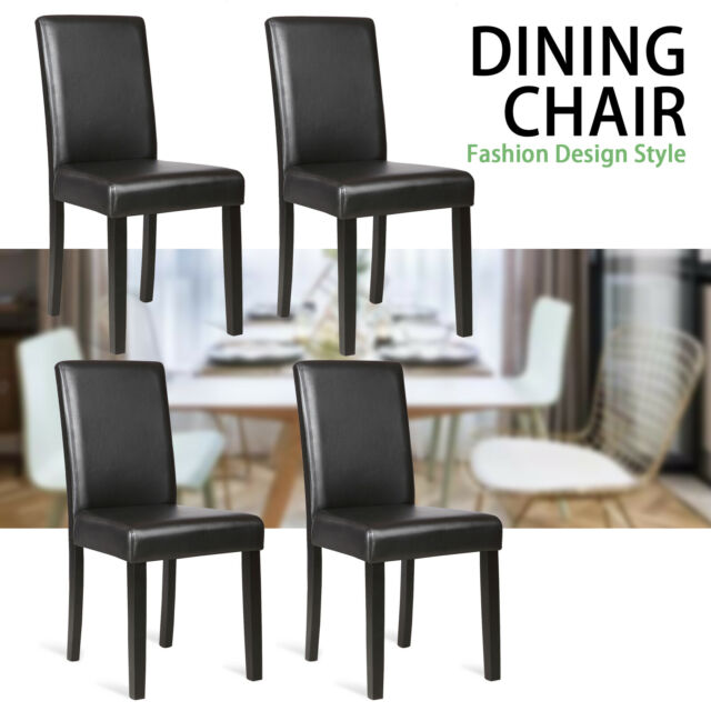 Set of 4 Kitchen Dining Chairs Leather Cushion Side Chairs w/ Wooden Legs  Black