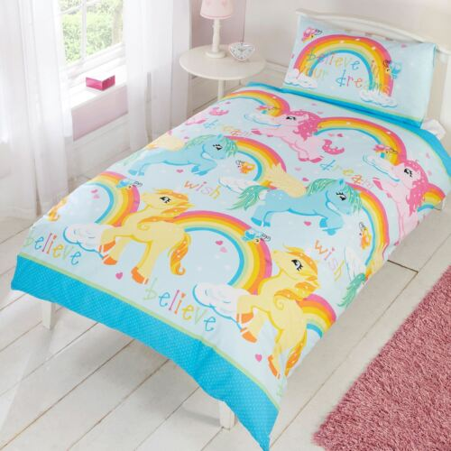 Licornes Rainbows Coloré Housse De Couette Double Set Kids Bedding