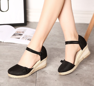 Roman-Womens-Wedge-Mid-Heels-Strappy-Linen-Sandals-Pointy-Toe-Casual-Retro-Shoes