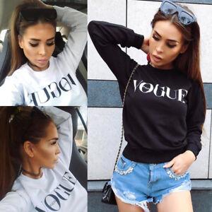 Fashion-Women-Tops-Long-Sleeve-Shirt-Loose-Casual-Blouse-T-Shirt-Cotton-Vogue