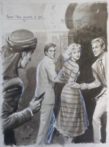 VINTAGE ORIGINAL 1955 ITALIAN ILLUSTRATION ART PAINTING YOUNG WOMAN IN DANGER!