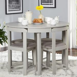 round kitchen table set 5 Piece Dining Table Set Grey Wood Kitchen Room 4 Chairs Compact  round kitchen table set