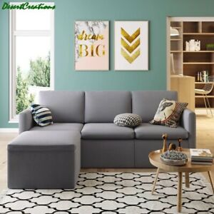 Modern Sectional 3-Seat Sofa Couch With Ottoman Modern Linen Fabric Living Room