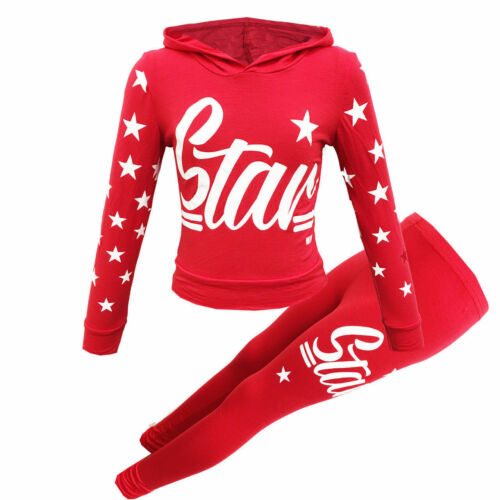 NEW GIRLS KIDS STAR TRACKSUITS HOODED SETS LOUNGWEAR AGE 7-13 YEARS JOGGING