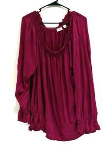 CATO-Women-26-28W-Elastic-Neck-Bishop-Sleeve-Ruffle-Blouse-Top-Fuschia-Purple