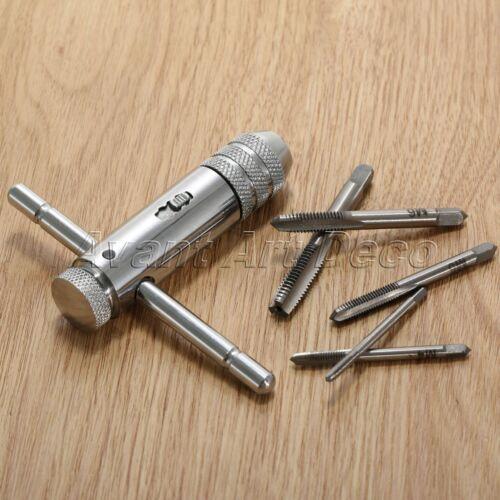 M3-M8 Metric Machine Screw Thread Tap Bits /& T-Handle Ratchet Tap Wrench Kit