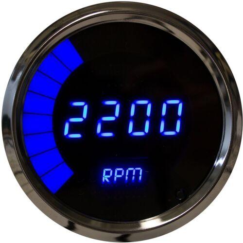 """3 3//8/"""" Universal Digital Tachometer Bargraph Gauge Blue LED Black Bezel US Made"""