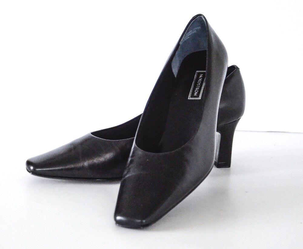 Nordstrom Dedo Del Pie Cuadrado Cuero Negro Zapatos De Salón Salón Salón Talla 9 de ancho  forma única