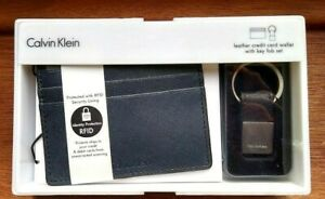 Calvin-Klein-Leather-Credit-Card-Wallet-RFID-With-Key-Fob-Set-In-Navy-Blue-Gift