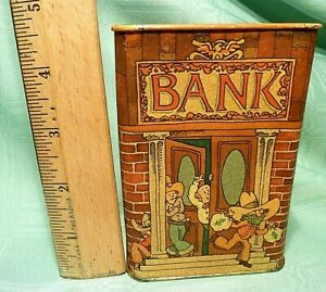 Vintage-HALLMARK-COLLECTIBLE-COIN-BANK-TIN-CAN-Piggy-Bank-COWBOY-BANK-ROBBERY