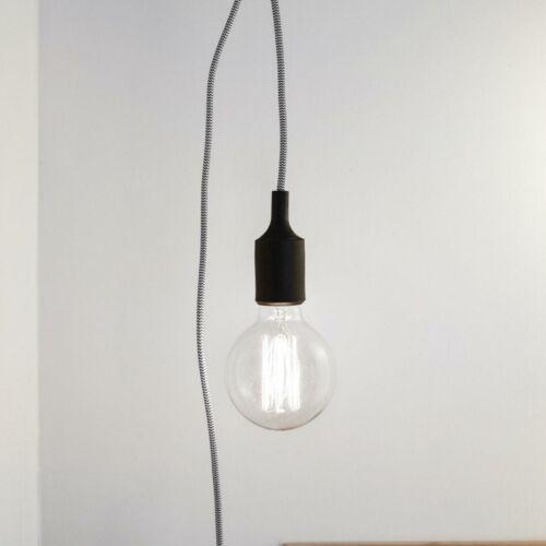 Kikkerland Cotton Lamp Cord EU Plug Braided Pendant 3.7m Bedroom Closet Light