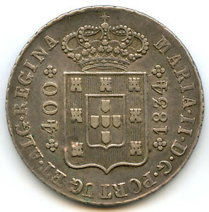 Portugal-Maria-II-1834-1853-400-Reis-1834-KM-403-2