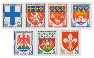 EBS-France-1958-Armoiries-des-Villes-III-Coats-of-Arms-YT-1180-1186-MNH