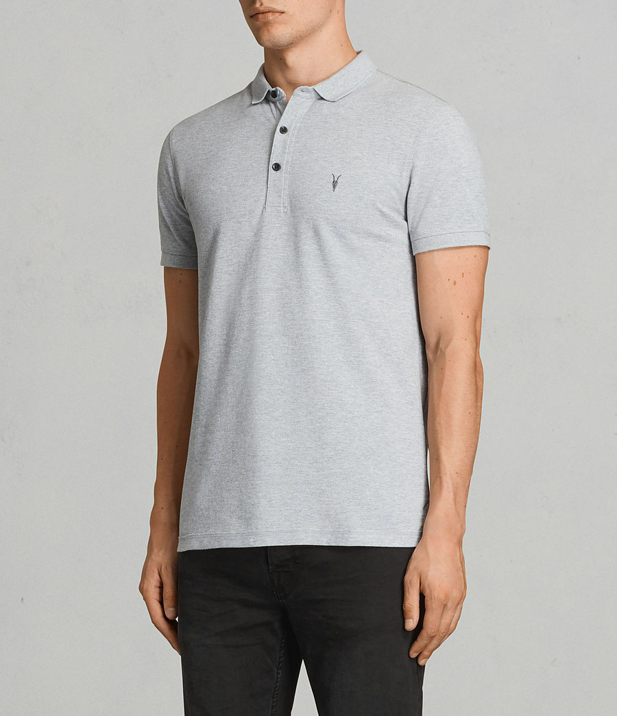 Allsaints Alter Abbottonatura Colletto Polo Slim Fit ramskull Ricamato Camicia S Small