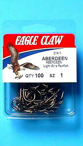 50//pack Eagle Claw Gold Aberdeen Light Wire Panfish Hooks Size 4