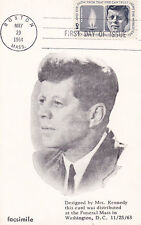 United States 1964 Death of Kennedy FDC Copy of Funeral Mass Card VGC
