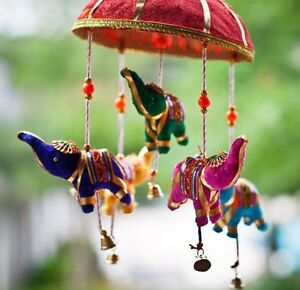 Indian Elephant Umbrella Lucky Mobile Wall Hanging Puppets