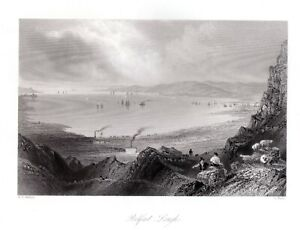 BELFAST-LOUGH-River-Lagan-NORTHERN-IRELAND-1840-Antique-Print