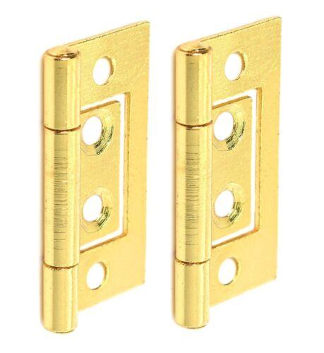2 x Brass HURLINGE Flush Door Cabinet Cupboard Hinges 50mm UK Crompton 105EB