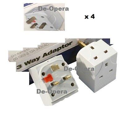 3 Way Gang Block Triple Socket Splitter 13A Mains UK Plug Adaptor Fuse Fused