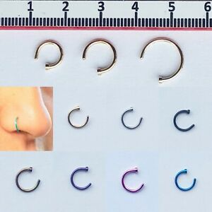 Nose-Ring-Fake-Hoop-Silver-Gold-6mm-Black-8mm-Surgical-Steel-Thin-Piercing
