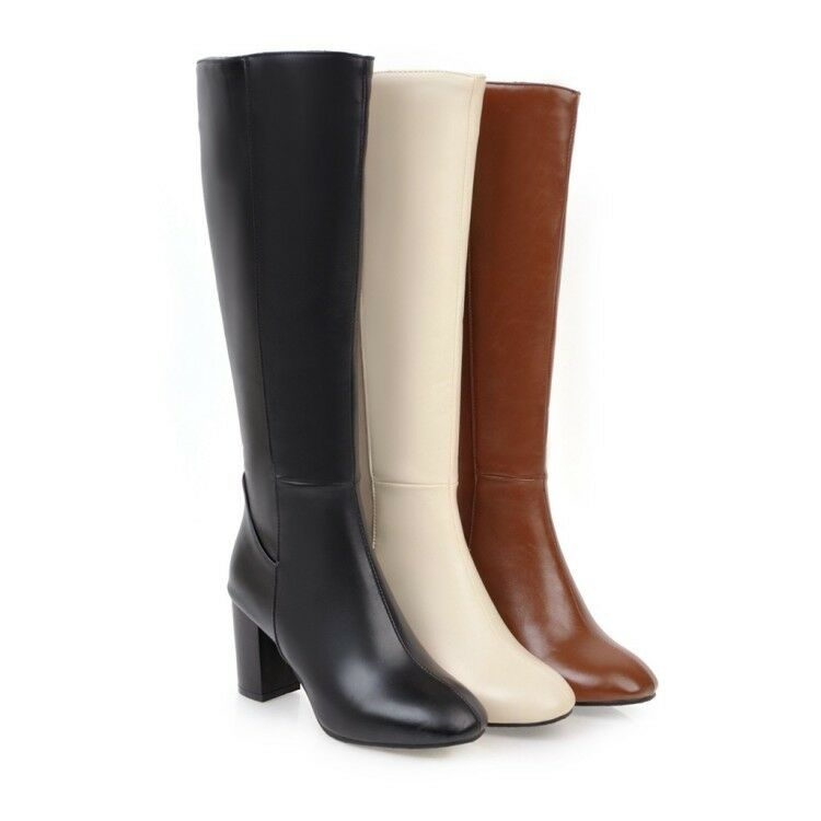 Señoras tacones gruesos combate combate combate militares de la rodilla botas altas Zapatos De Cremallera Lateral Talla Grande  muy popular