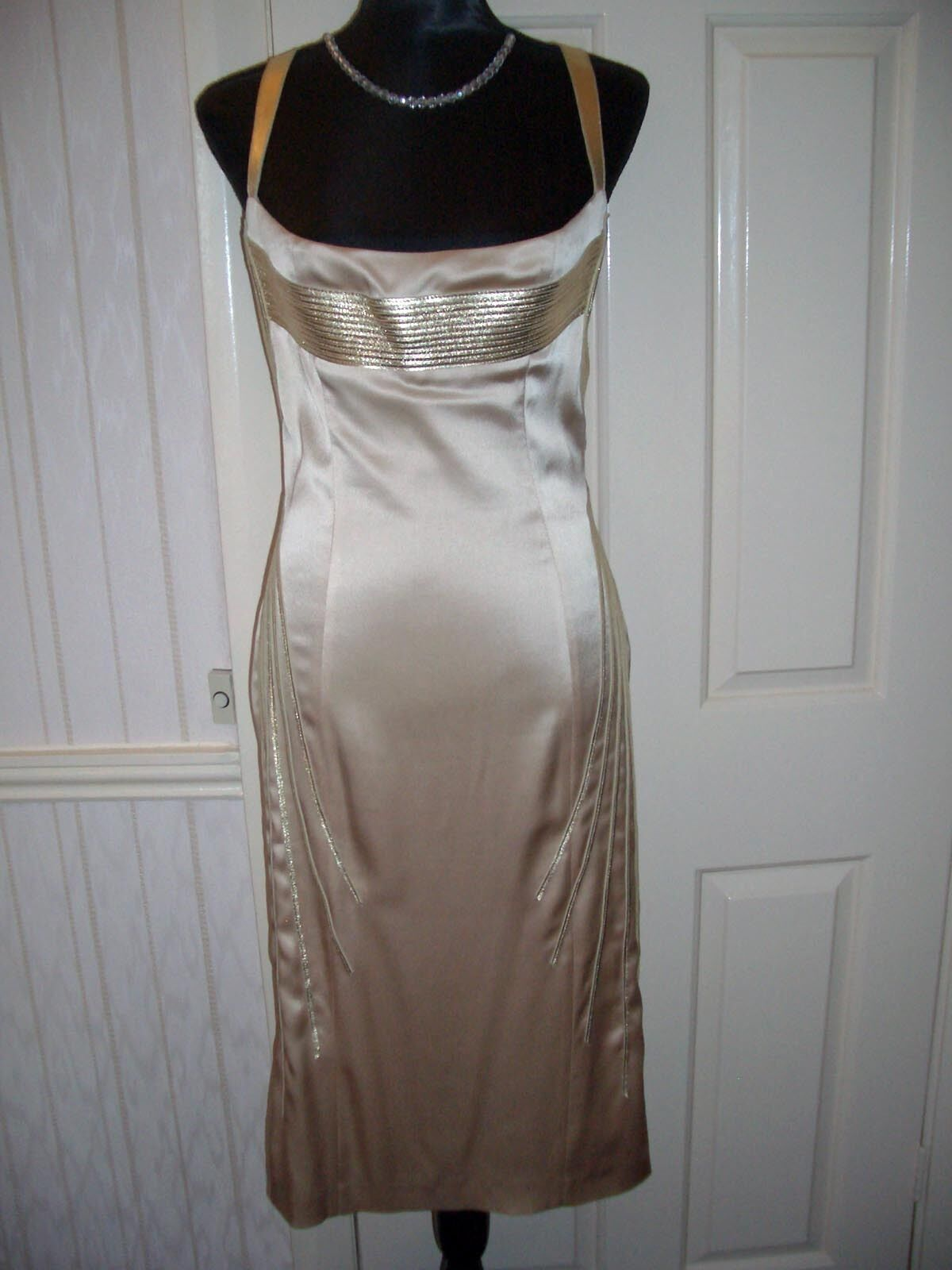 Jitrois Designer gold  Leather & Satin Pencil Dress size 40 (fits  12)