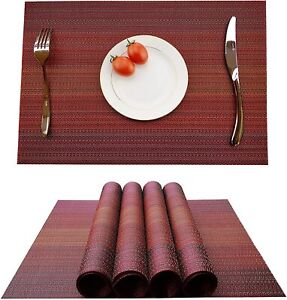 Placemats-Set-of-6-Table-Mats-Non-Slip-Woven-Heat-Resistant-Red-17-7-039-039-X11-8-039-039