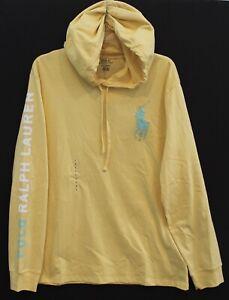Polo Ralph Lauren Mens Yellow Big Pony Cotton Hoodie L/S T-Shirt NWT Size L