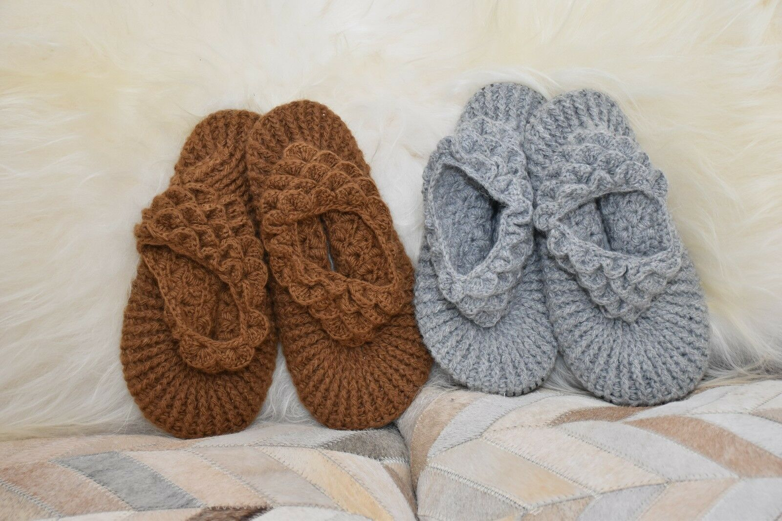 femmes Baby Alpaca Fur Winter Knit Slippers Handcrafted Peru Artisans 7.5