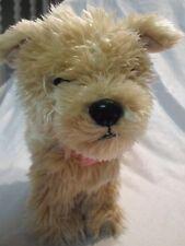 "Shaggy Puppy Dog Pink Polk a Dot Collar Plush Soft Toy Stuffed Animal 11"""