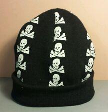 Skull Infant Baby Beanie Cap Hat Black White Crossbones Halloween