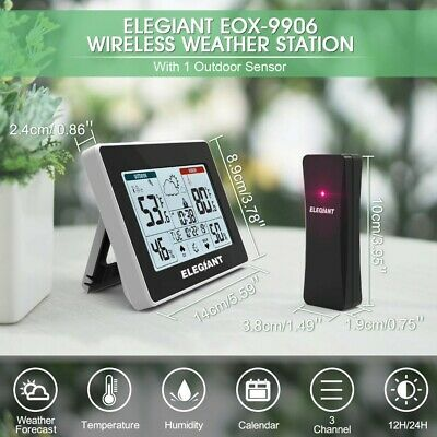 ELEGIANT Wireless Weather Station Indoor Outdoor Thermometer Hygrometer with ...