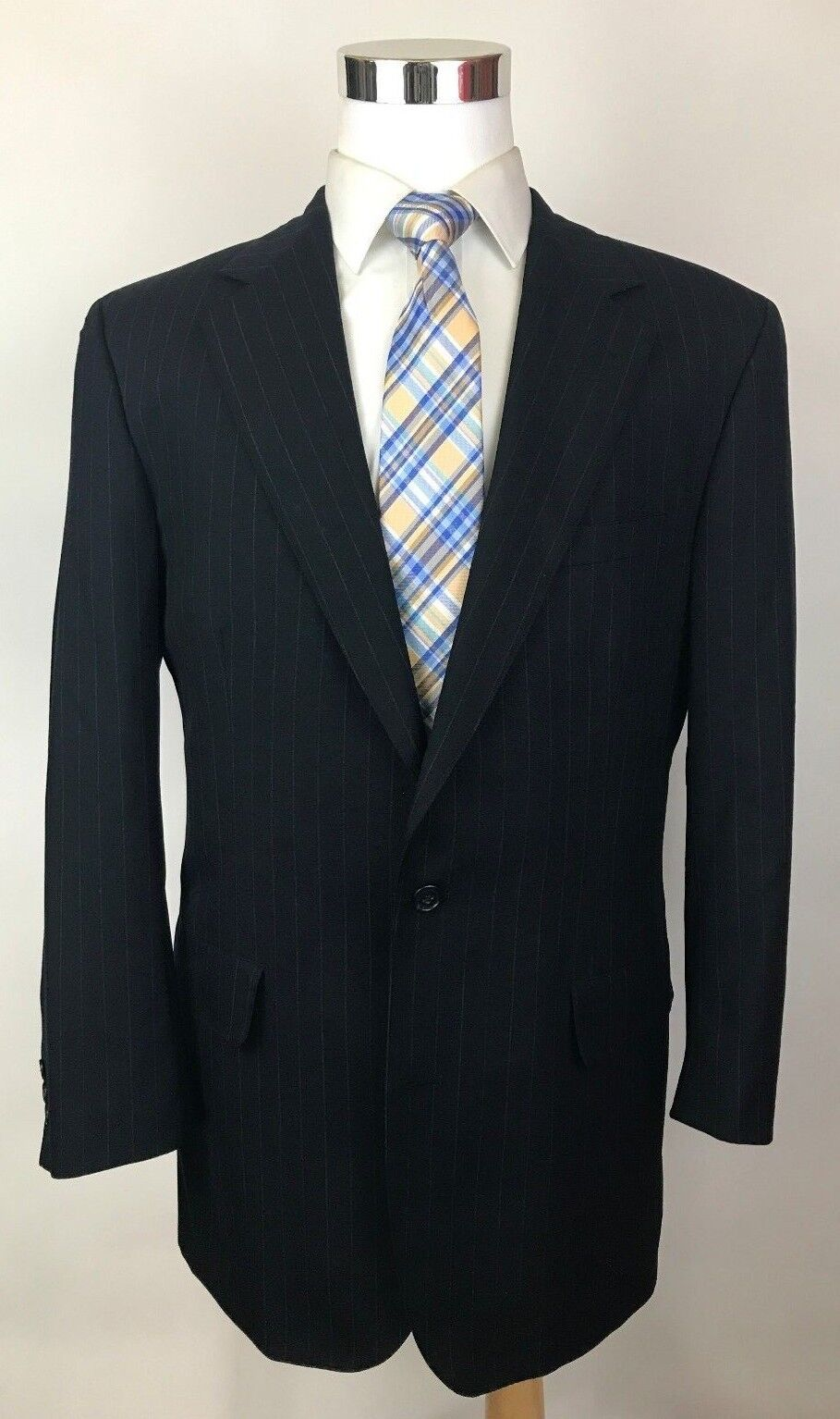 Brooks Bredhers Brooksease Charcoal Striped Slim Fit 2-Btn Wool Suit 41L 32x31