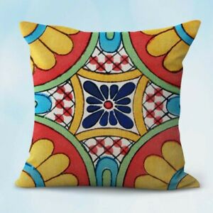 Mexican-talavera-flowers-cushion-cover-washable-throw-pillow-covers