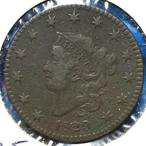 1829, Large Letters, 1C Coronet Head Cent (61376)