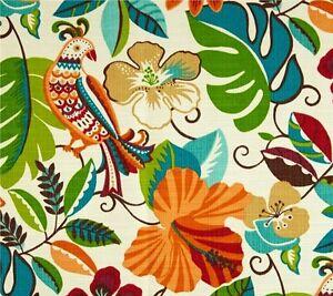 Outdoor Indoor Upholstery Birds Tropical Floral Orange Fabric