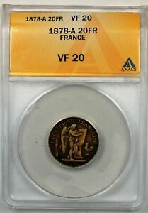 1878-A-France-20-Francs-Gold-Coin-ANACS-VF-20
