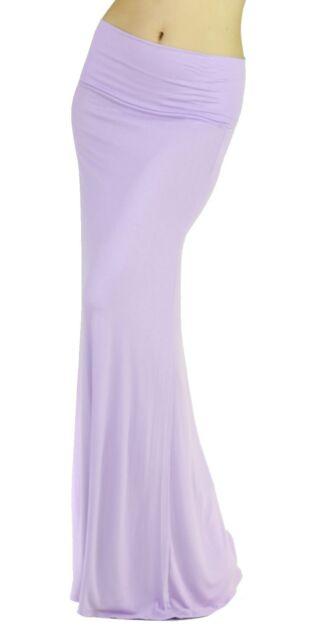New Lavender Women Solid Fold Over Waist Soft Rayon Long Maxi Skirt Reg Plus USA