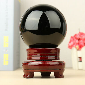 100MM-Large-Natural-Black-Obsidian-Sphere-Crystal-Ball-Healing-Stone-amp-Stand