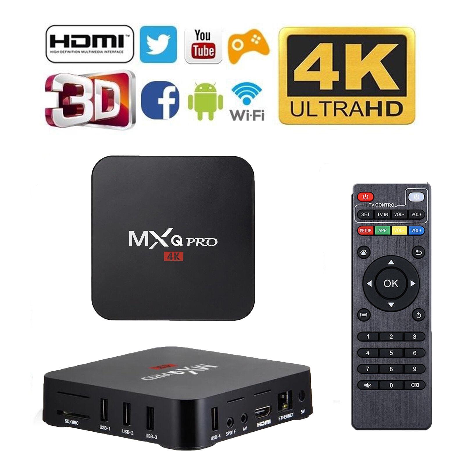 MXQ Pro 3D Media Player KODI 17.5 TV BOX WIFI Android 6.0 4K 1GB Ram 8GB Rom