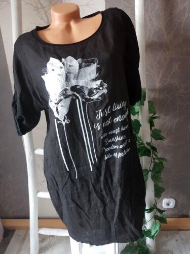 weiß Motiv Onesize Gr.38-42 Lässiges leichtes Leinenkleid Tunikakleid schwarz