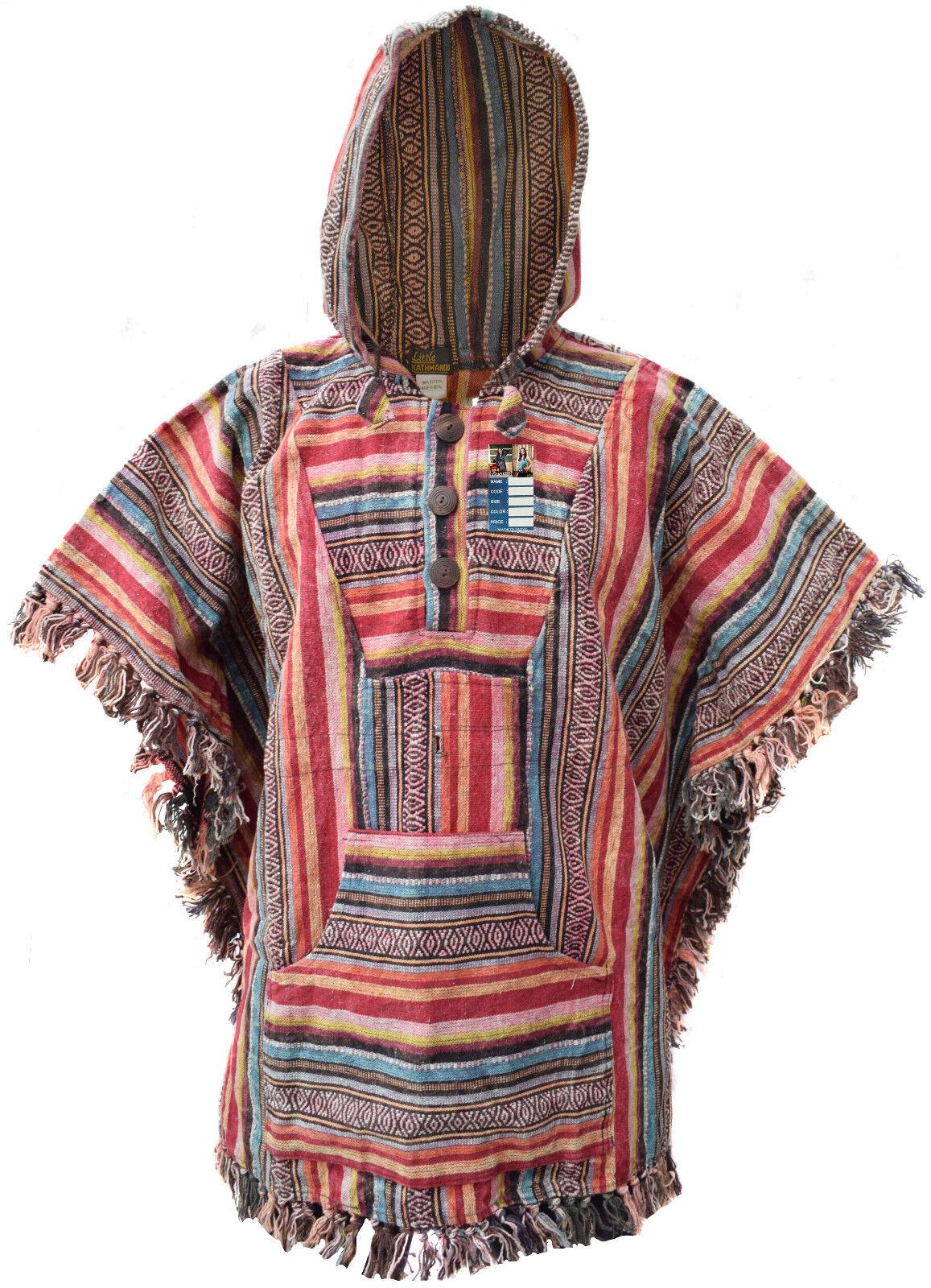 Algodón Gheri Individual Sarape Capa Capa Capa Hippy Gitano Abrigo Mantas Nepalí Poncho 5d6b7a