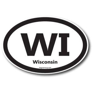 "WI Wisconsin Car Magnet 4x6"" US State Oval Refrigerator Locker SUV Heavy Duty"