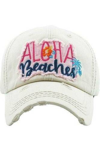 NWT ALOHA BEACHES Distressed Baseball Hat 4 colors to choose from