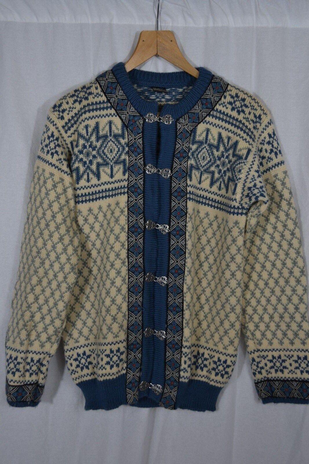 DALE OF NORWAY mens Blau knit 100% wool cardigan Nordic ski Größe 48 S