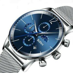 Herren-Armbanduhr-Edelstahl-Silber-Blau-Analog-Quarz-Uhr-Wasserdicht-3ATM